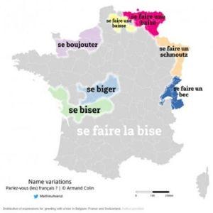 フランス流の挨拶、ビズの名称 地域別