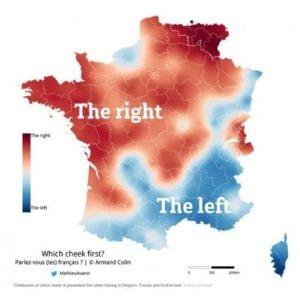 フランス流の挨拶、ビズをする頬の統計