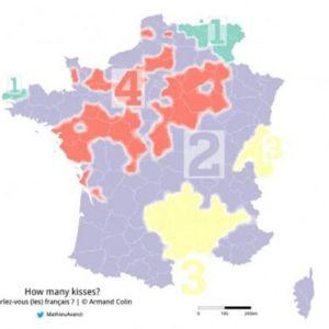 フランス流の挨拶、ビズの回数統計