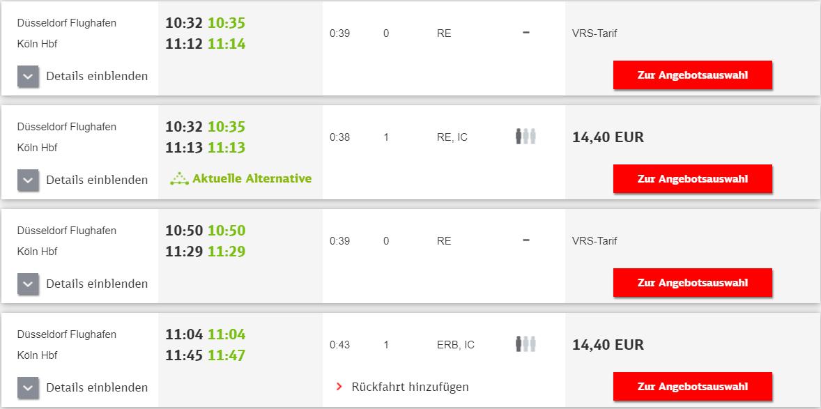 デュッセルドルフ空港からケルン市内に行く方法
