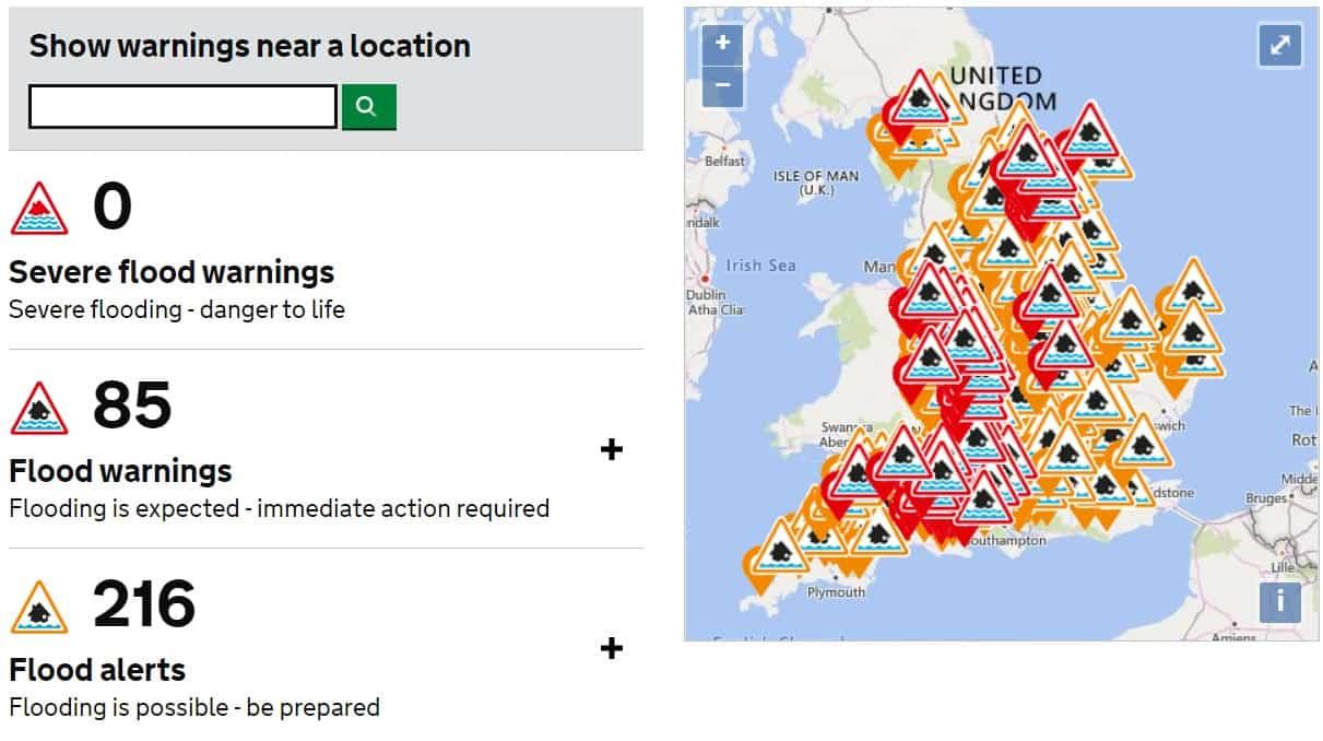 イギリス 洪水警報