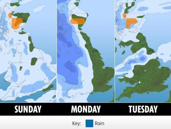 イギリスの天気予報・雨・洪水警報